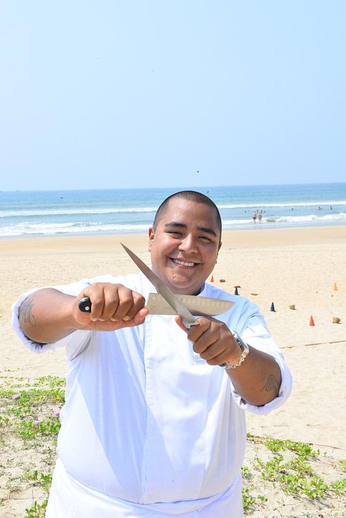 Chef on a beach