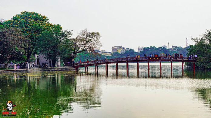 Peaceful view of Bridge and Lake