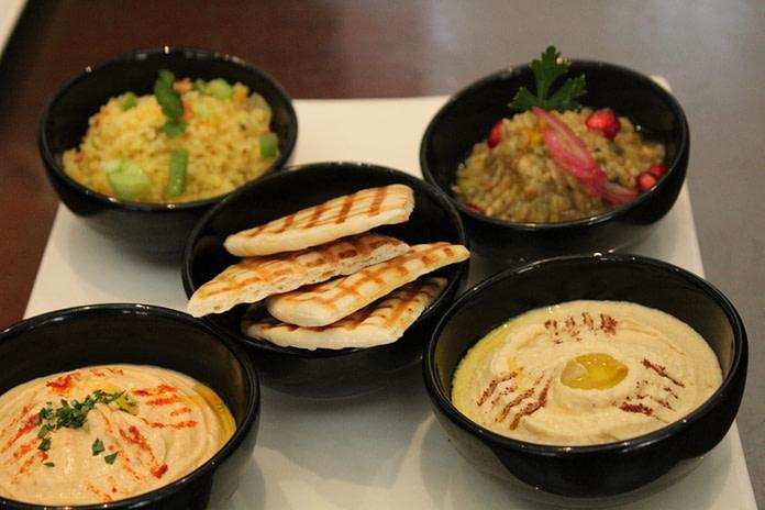 Hummus, pita, Mutabbal and baba Ganoush