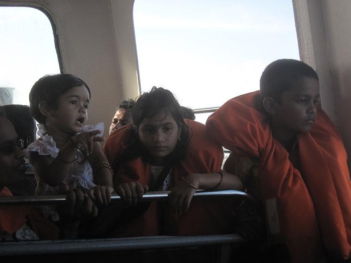 Cute kids on boat