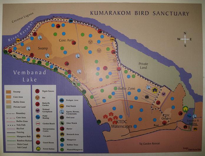 Map of Kumarakom Bird Sanctuary, Kerala
