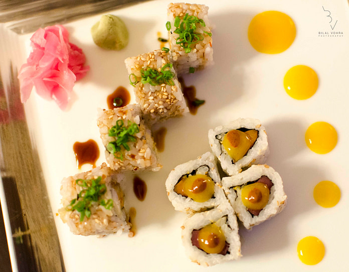 Non veg Sushi Rolls Mango Shrimp Tempura